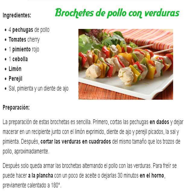 Receta de brochetes de pollo con verduras im genes y for Resetas para cocinar