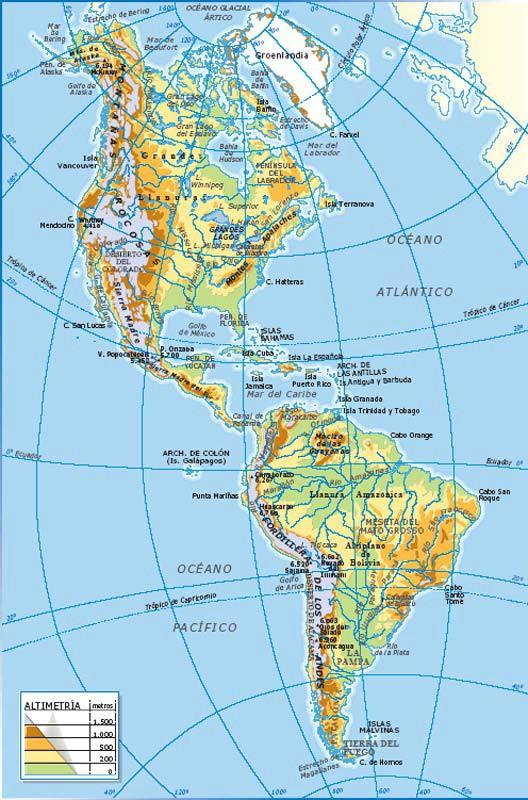 Información E Imágenes Con Mapas De América Político Y Físico