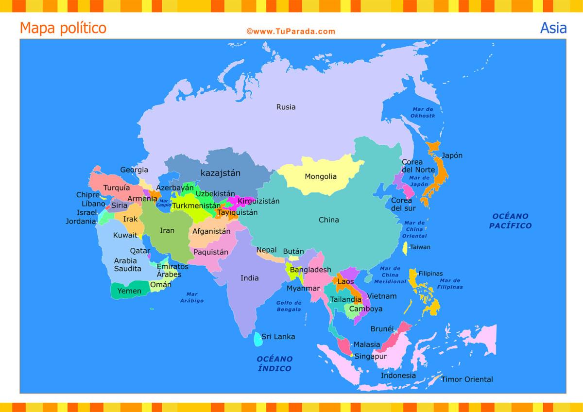 Informacin e imgenes con mapas de Asia poltico fsico y para