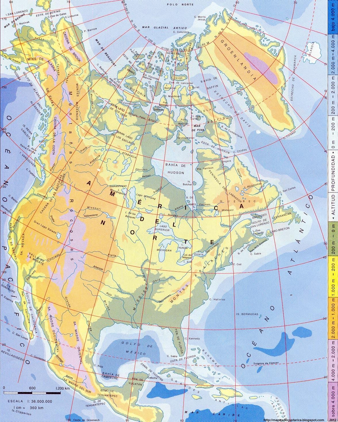 America Del Norte Mapa Fisico