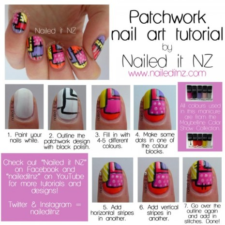 patchwork nails tutorials