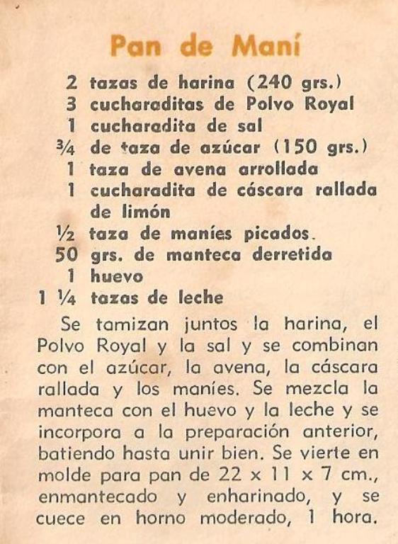 4- SEGUNDA RECETA - PAN DE MANÍ