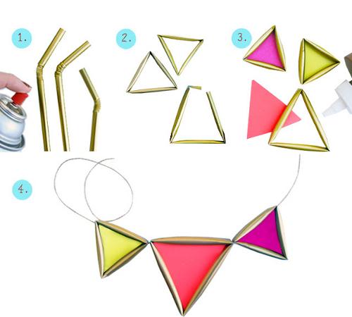 DIY-Tutorial-Pasos_como-hacer-collar_triangulos_dorados_neon_con_pajitas