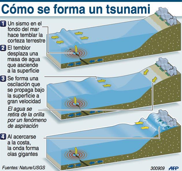 Infografía de Tsunami y su origen.