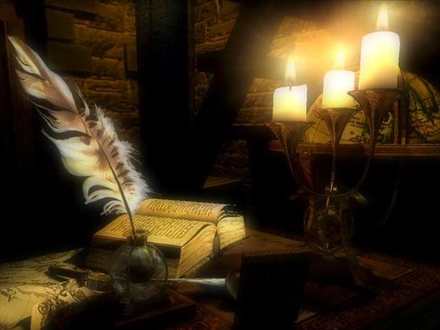 imagen dia de la poesia+velas+pluma