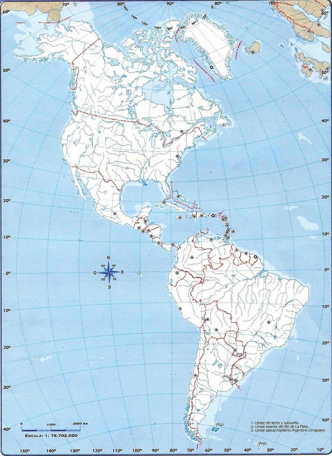 Mapa America Para Imprimir.Informacion E Imagenes Con Mapas De America Politico Y Fisico