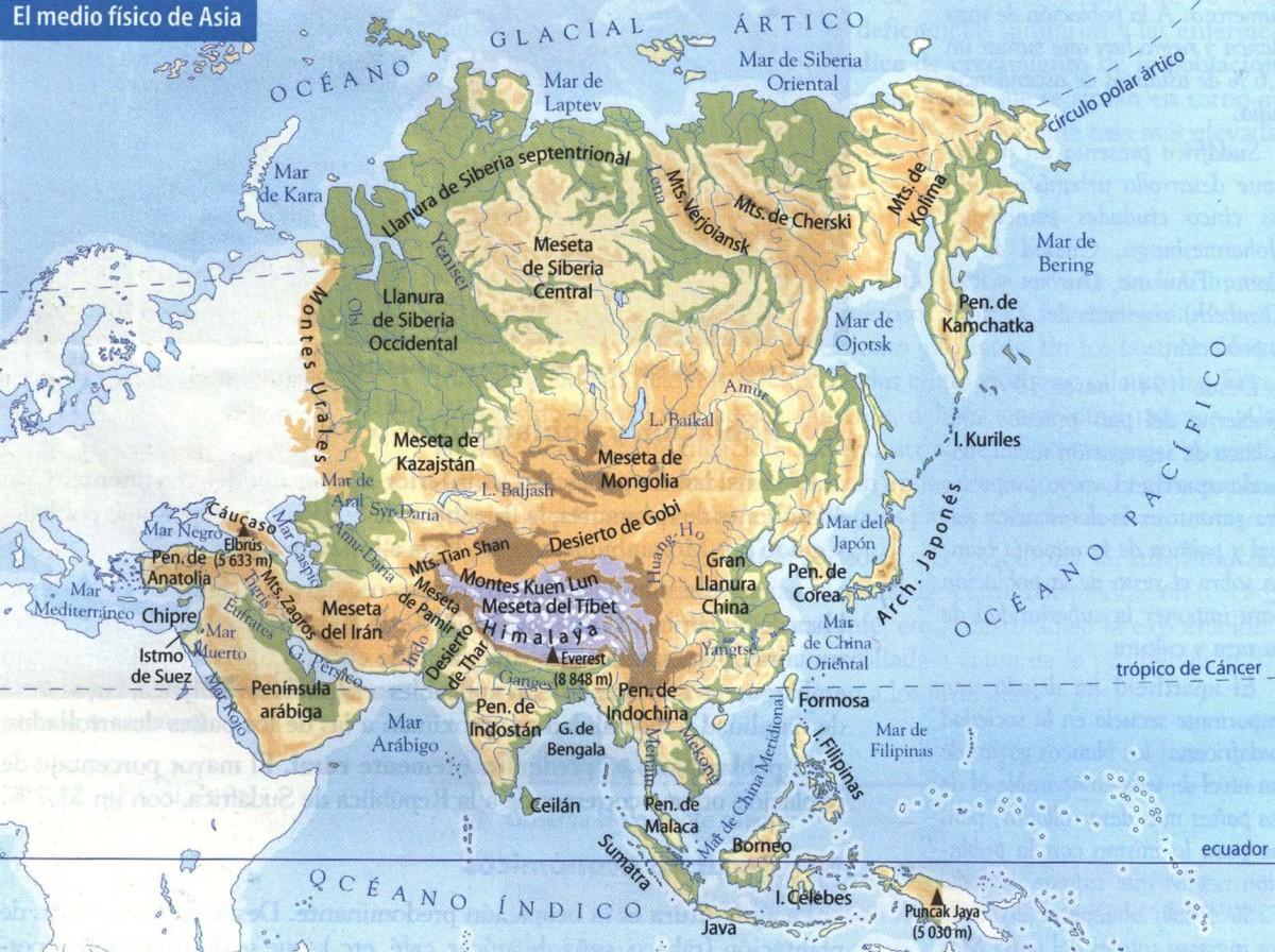Mapa Geografico De Asia.Informacion E Imagenes Con Mapas De Asia Politico Fisico Y