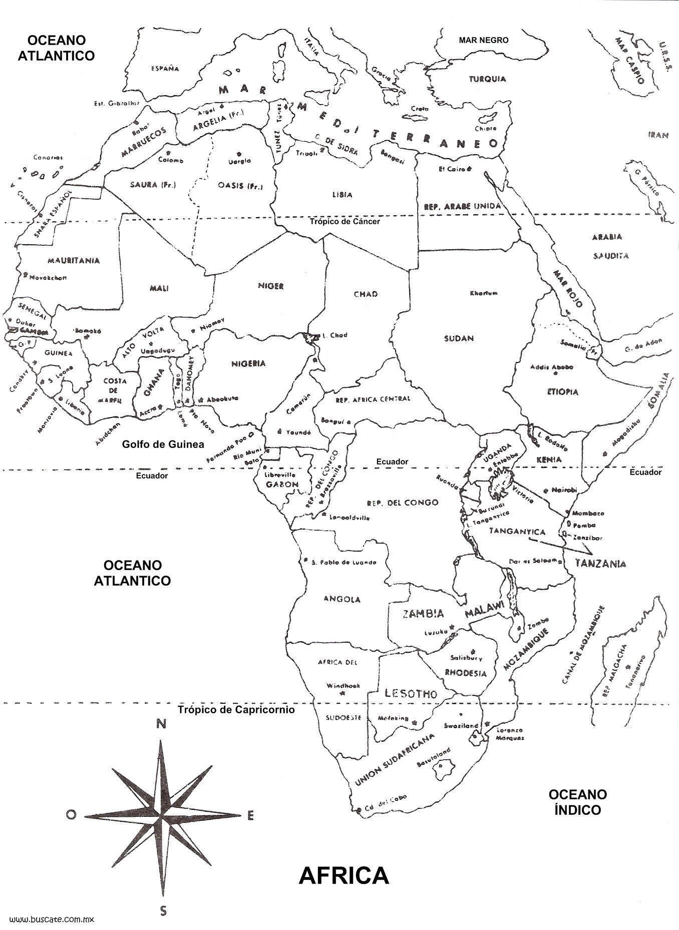 Información e imágenes con mapas de África y paises: fisicos ...