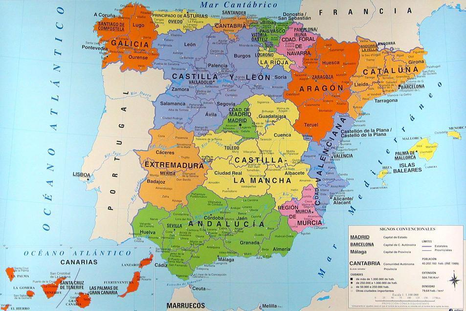 Mapa De España Físico.Informacion E Imagenes Con Mapas De Espana Politico Y Fisico