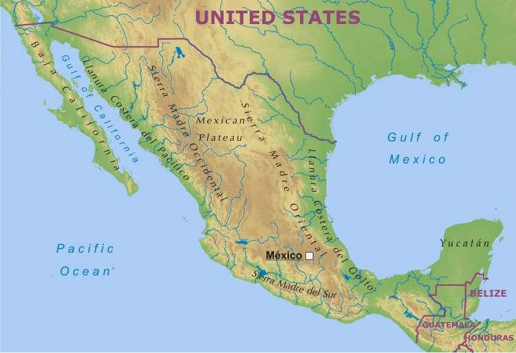 Rio Bravo Mapa Fisico.Informacion E Imagenes Con Mapas De Mexico Politico Fisico