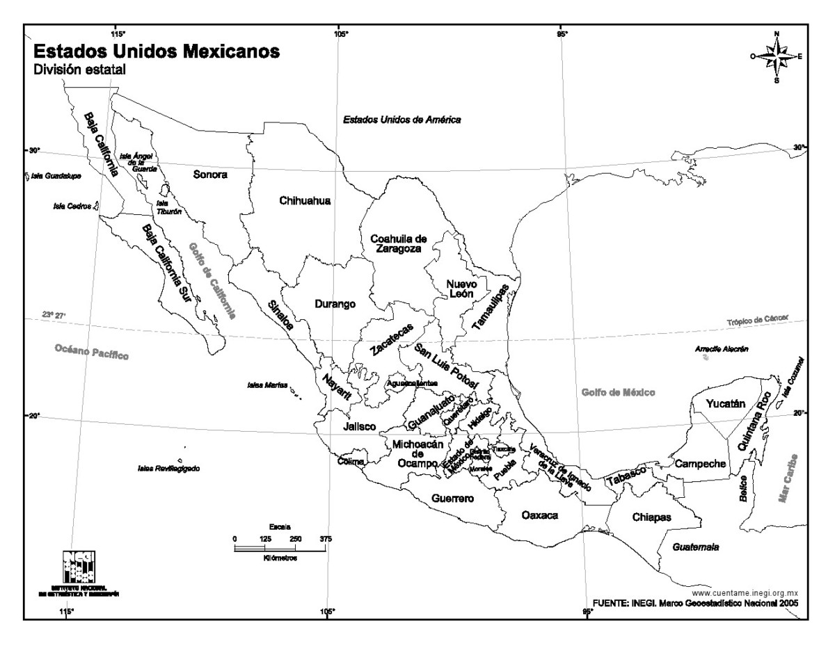Información E Imágenes Con Mapas De México Político Físico